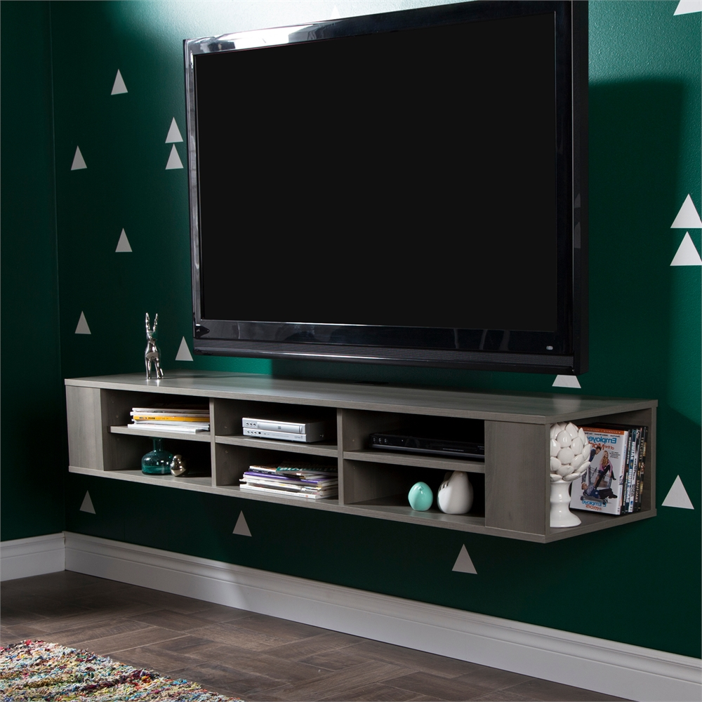 South shore city life 66 wide wall mounted media console for Meuble console tv