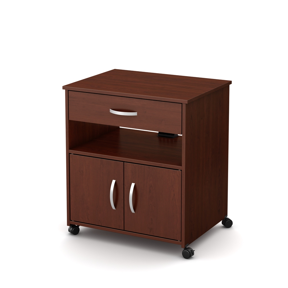 South Shore Axess Microwave Cart On Wheels Royal Cherry