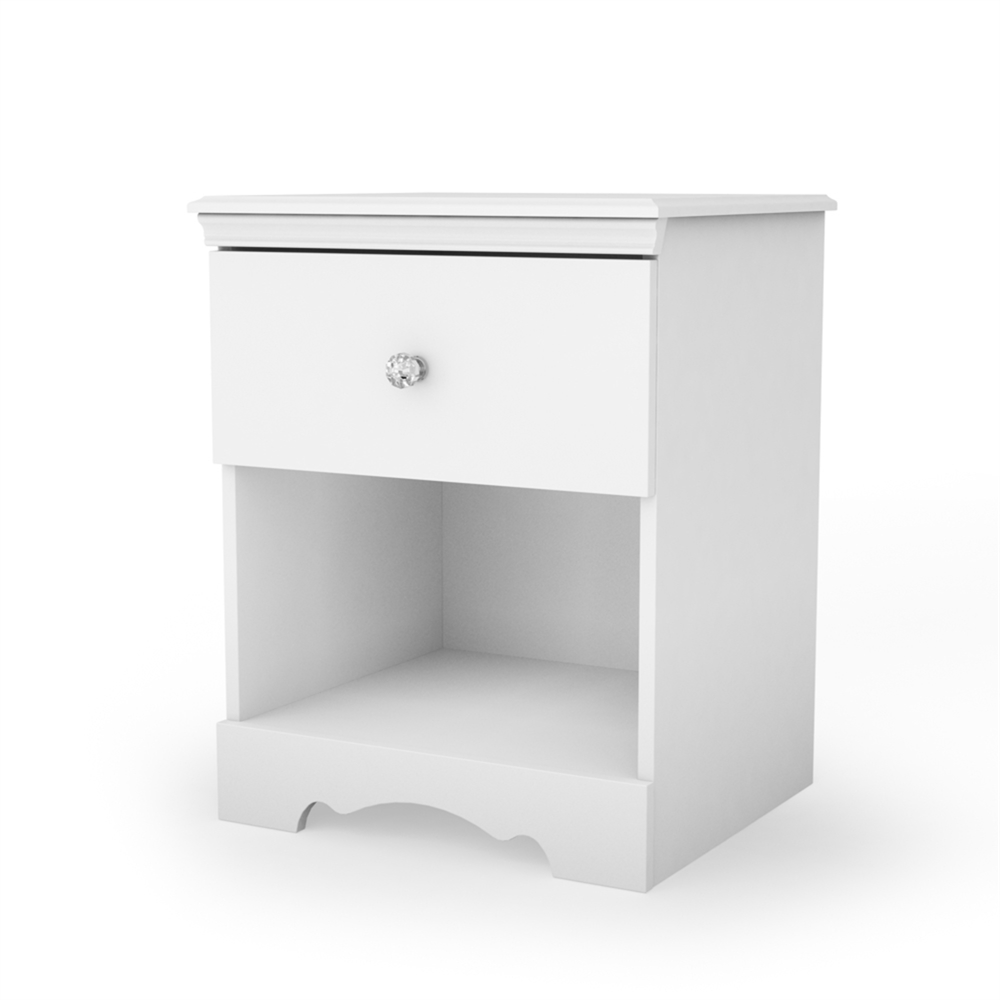 South shore crystal 1 drawer nightstand pure white for South shore artwork craft table with storage pure white