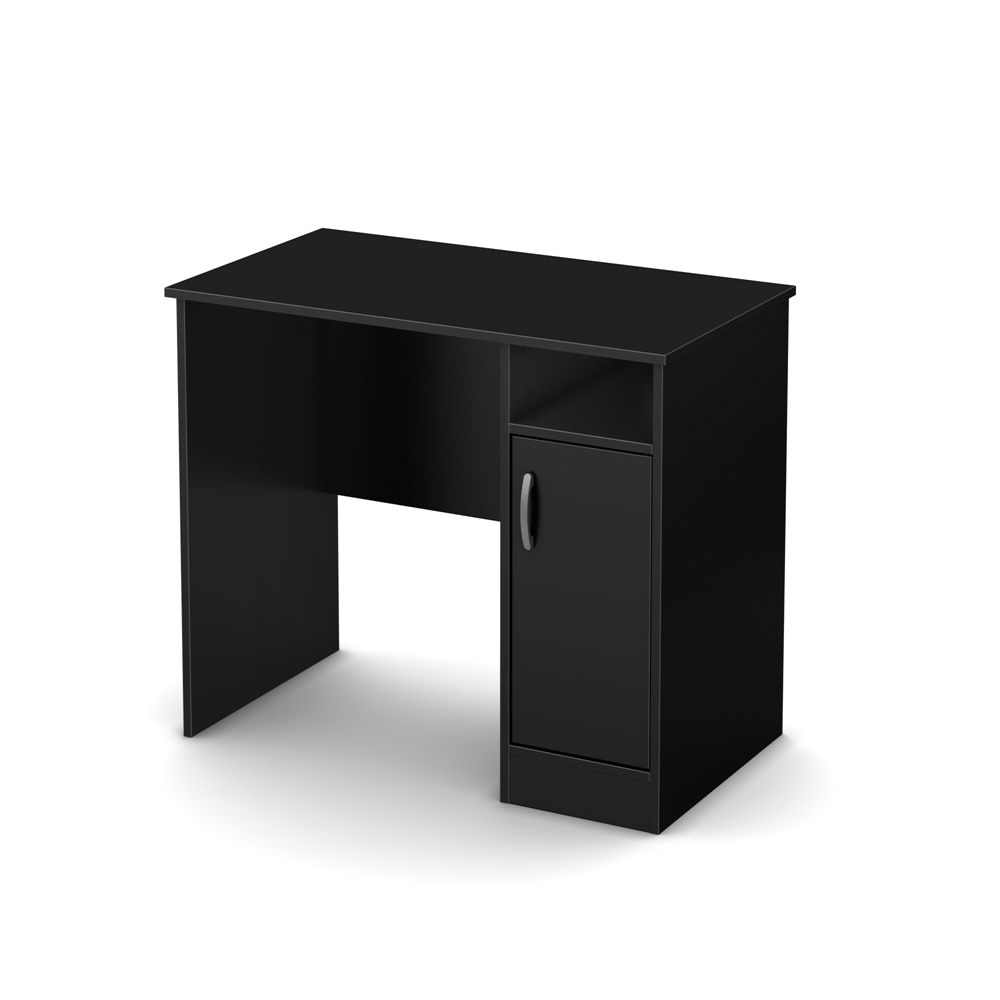 South shore axess small desk pure black for South shore artwork craft table with storage pure white