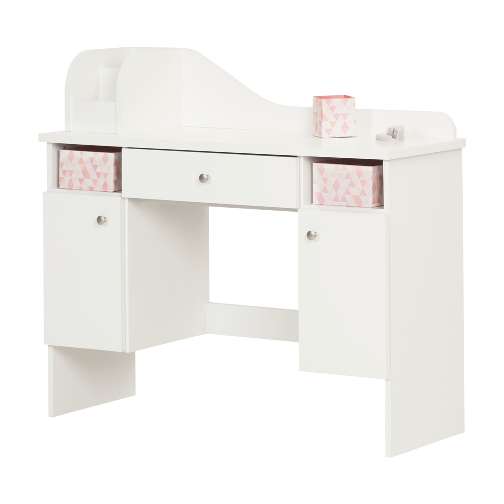 South shore vito pure white makeup desk with drawer for South shore artwork craft table with storage pure white