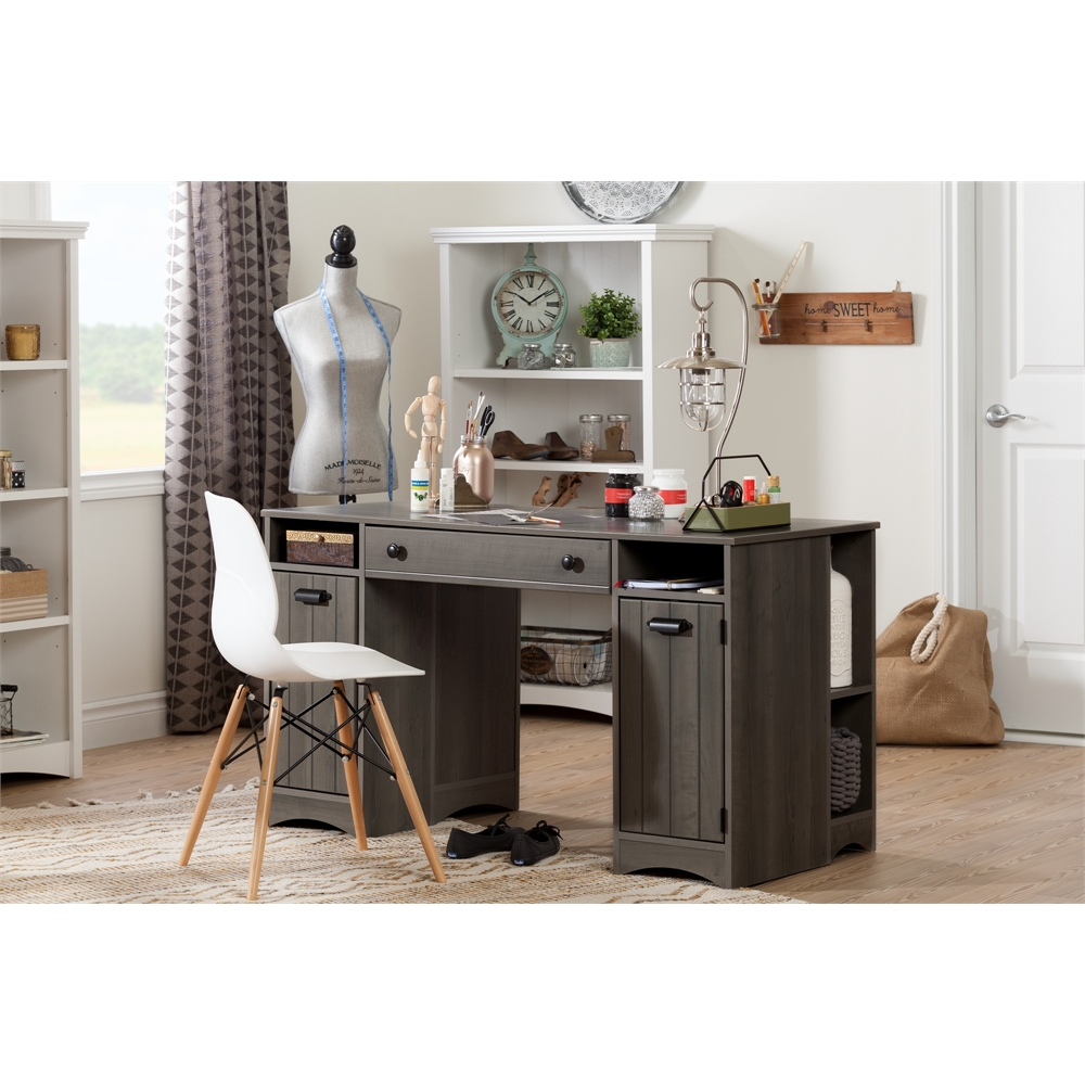 South shore artwork craft table with storage gray maple for Craft desk with storage