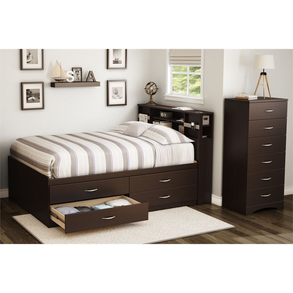 south shore step one full captain bed 54 39 39 with 4 drawers chocolate. Black Bedroom Furniture Sets. Home Design Ideas