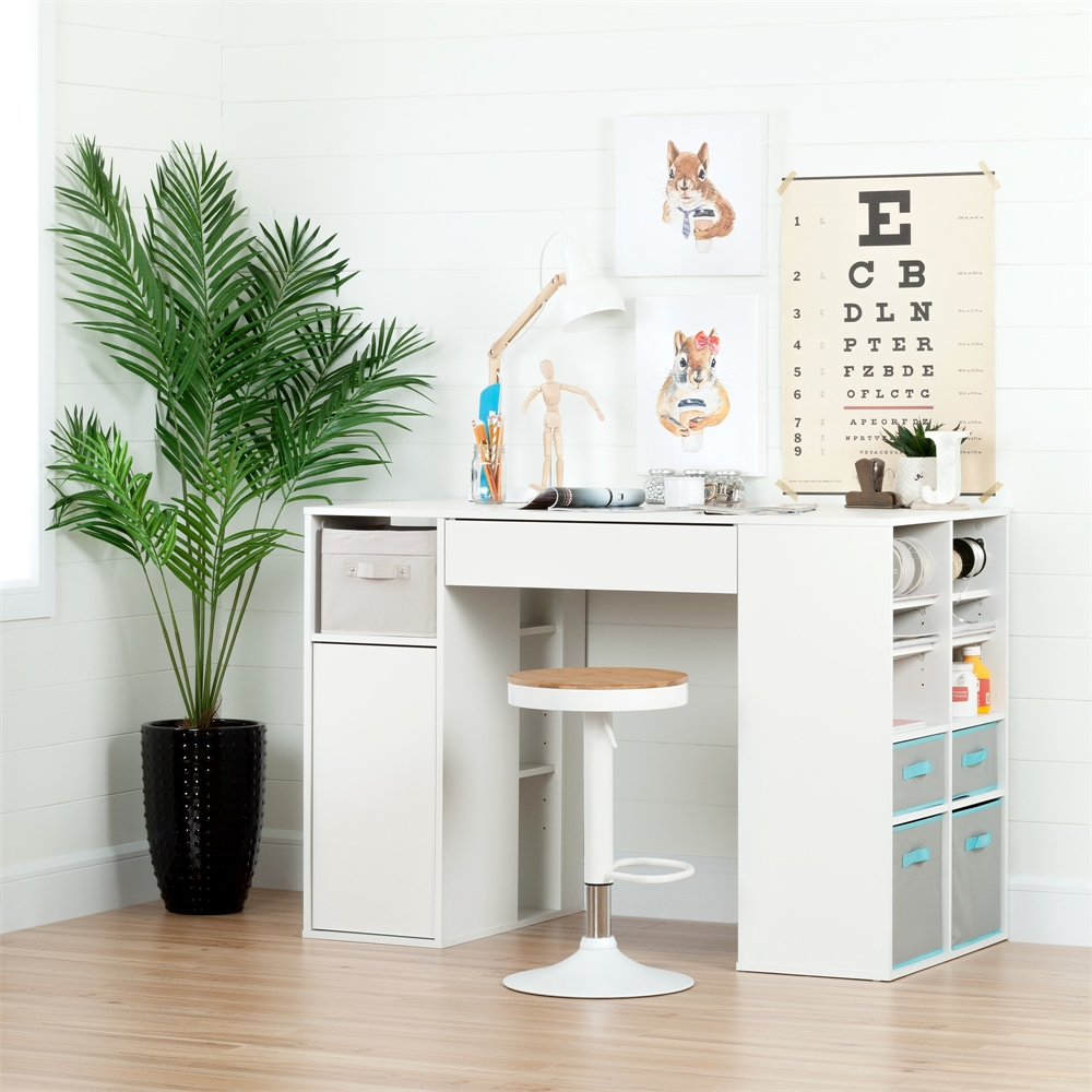 South shore crea pure white counter height craft table and for South shore artwork craft table with storage pure white