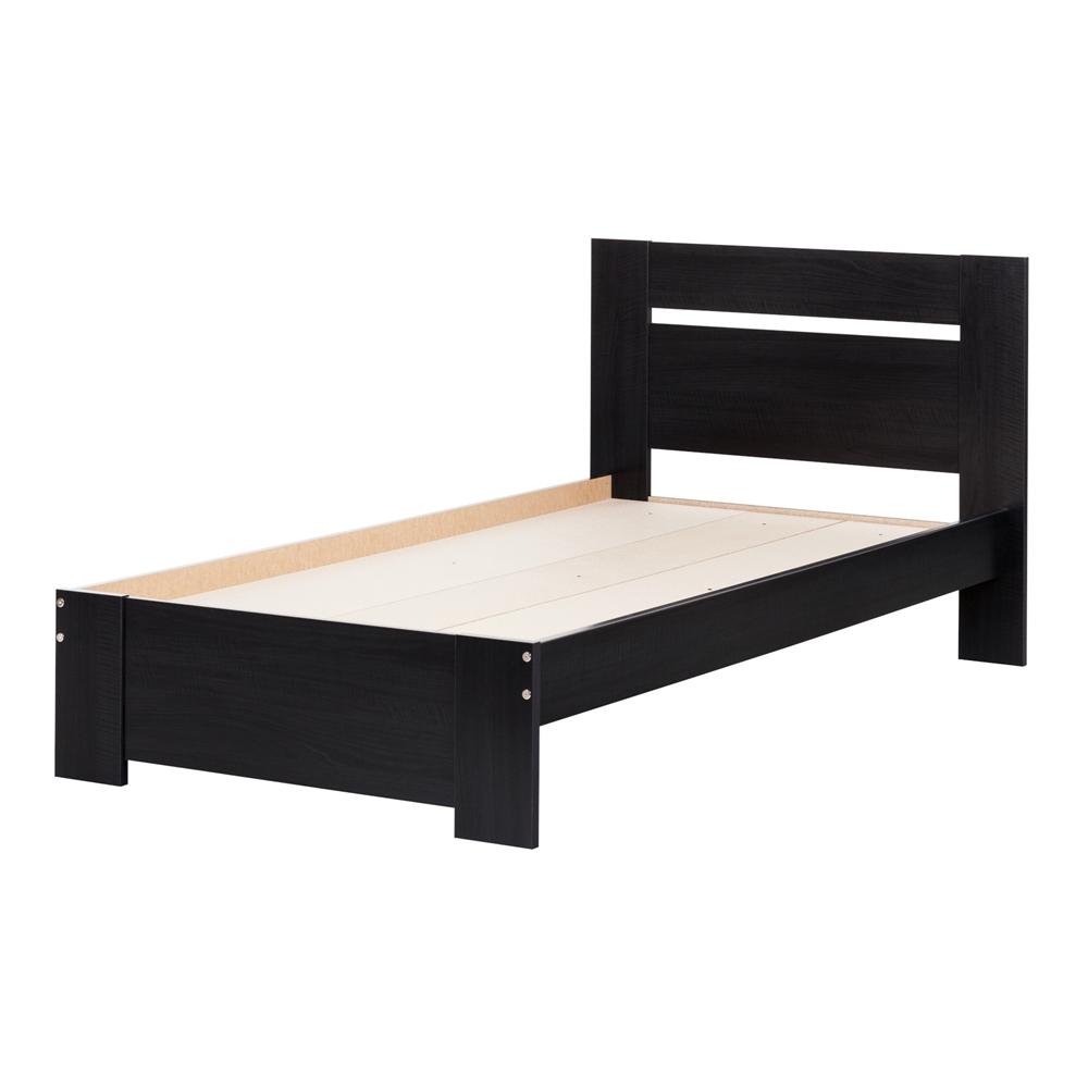 South Shore Logik 4 Piece Pure White Twin Kids Bedroom Set: South Shore Reevo Twin Bed Set (39''), Black Onyx