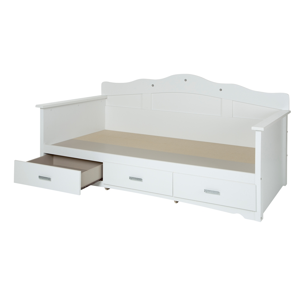 South shore tiara twin daybed with storage 39 pure white for South shore artwork craft table with storage pure white