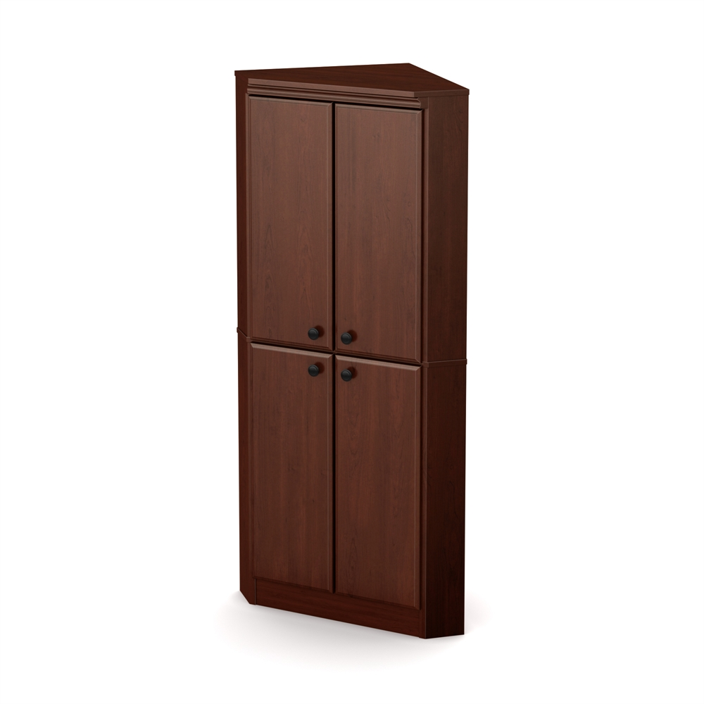 South shore morgan 4 door corner armoire royal cherry for Meuble armoire