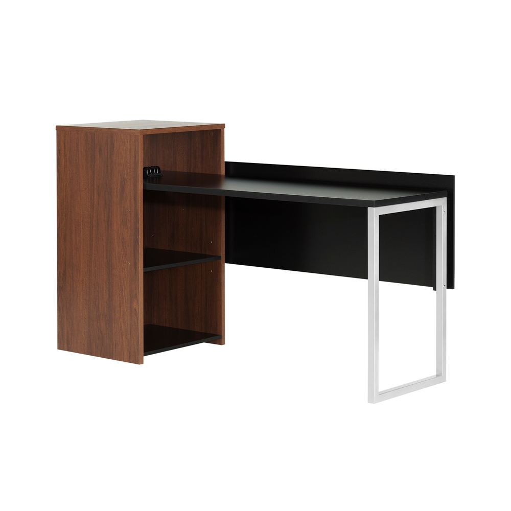 South shore tasko desk with storage brown walnut and pure for South shore artwork craft table with storage pure white