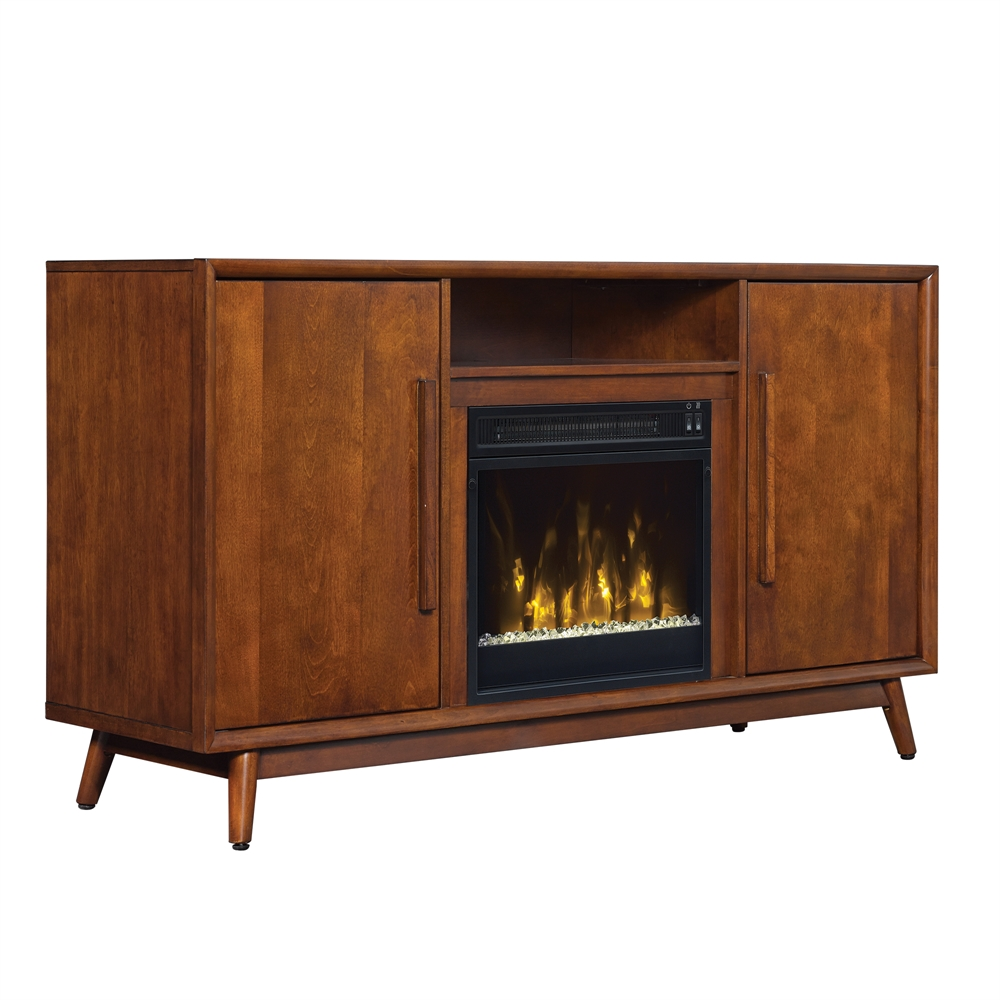 Leawood Tv Stand For Tvs Up To 60 With Electric Fireplace Mahogany Cherry