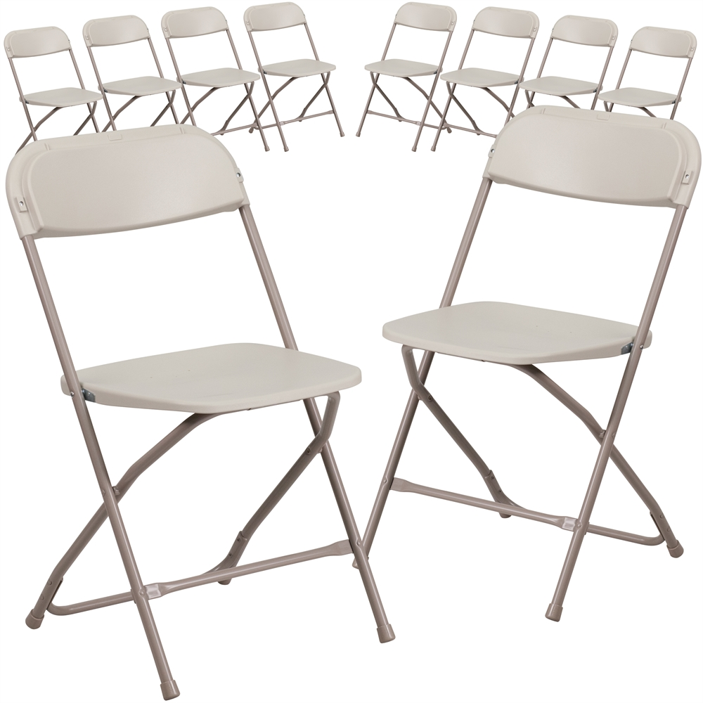 10 Pk. HERCULES Series 800 lb. Capacity Premium Beige Plastic Folding Chair