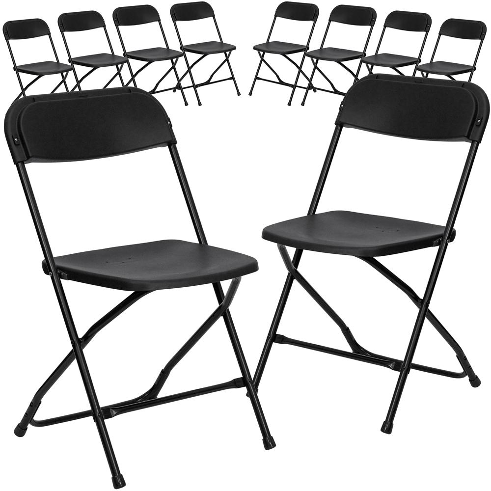 10 Pk. HERCULES Series 800 lb. Capacity Premium Black Plastic Folding Chair. Picture 1