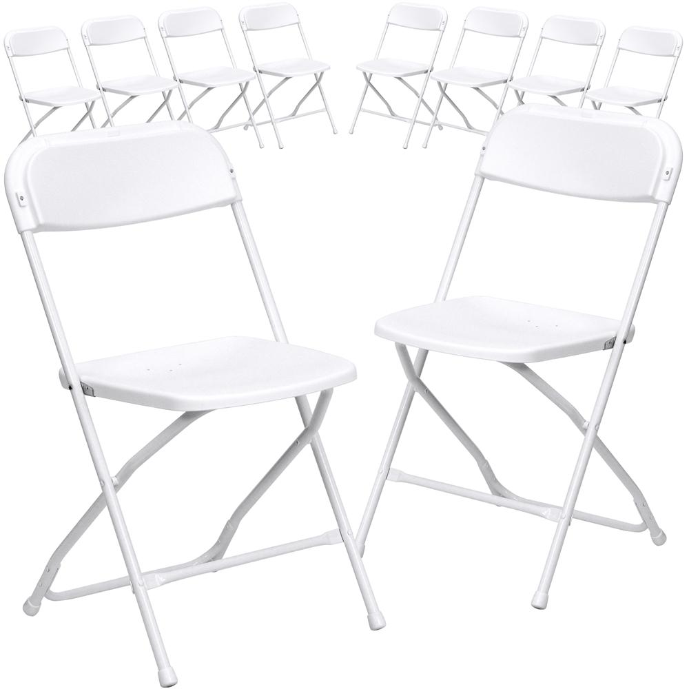 10 Pk. HERCULES Series 800 lb. Capacity Premium White Plastic Folding Chair. Picture 1