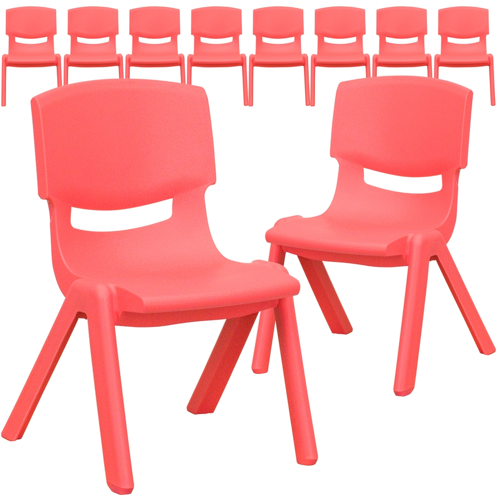 10 Pk. Red Plastic Stackable School Chair with 10.5\'\' Seat Height