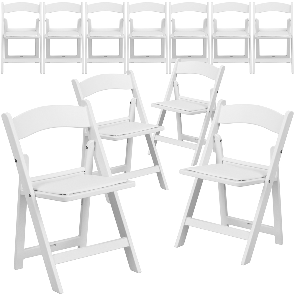 11 Pk. Kids White Resin Folding Chair with White Vinyl Padded Seat. Picture 1