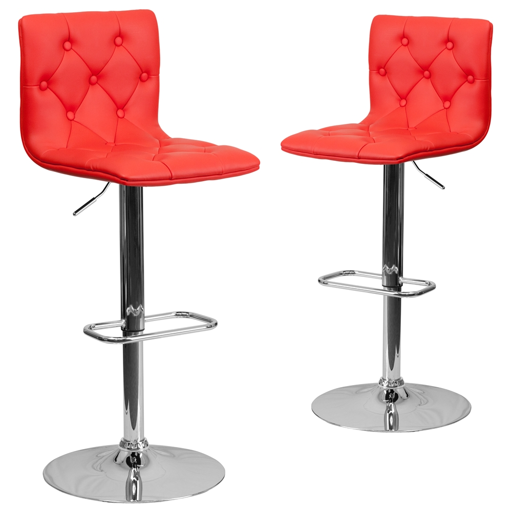 2 Pk Contemporary Tufted Red Vinyl Adjustable Height