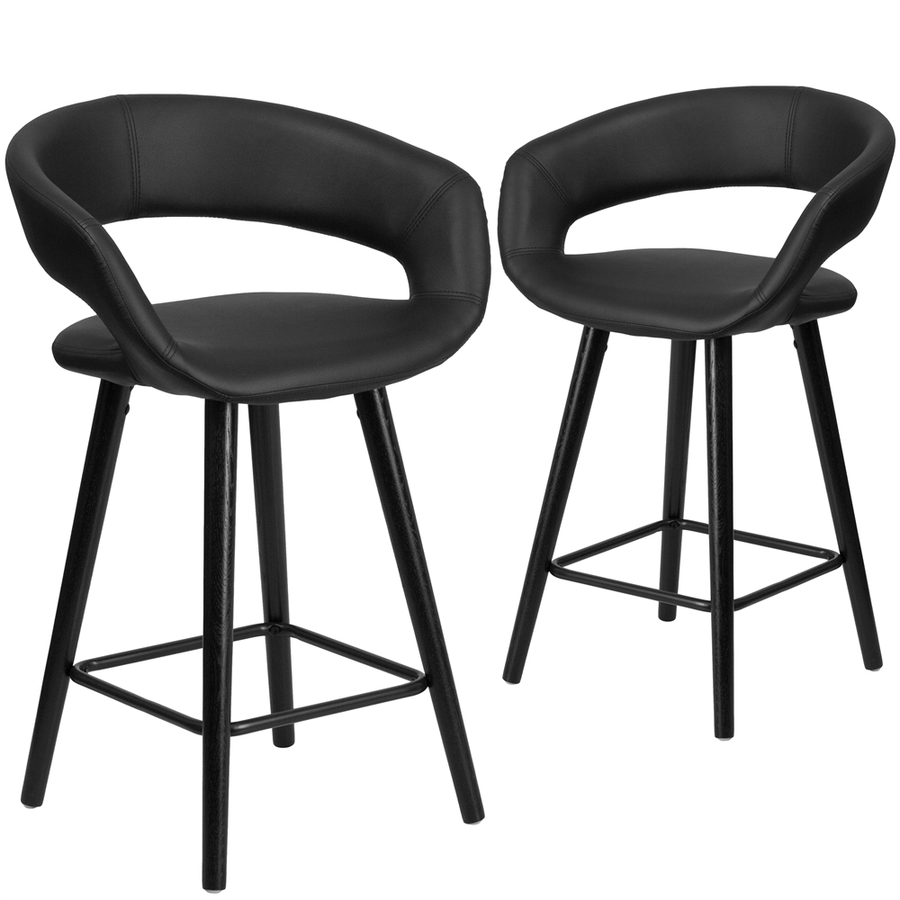 2 Pk Brynn Series 24 High Contemporary Black Vinyl
