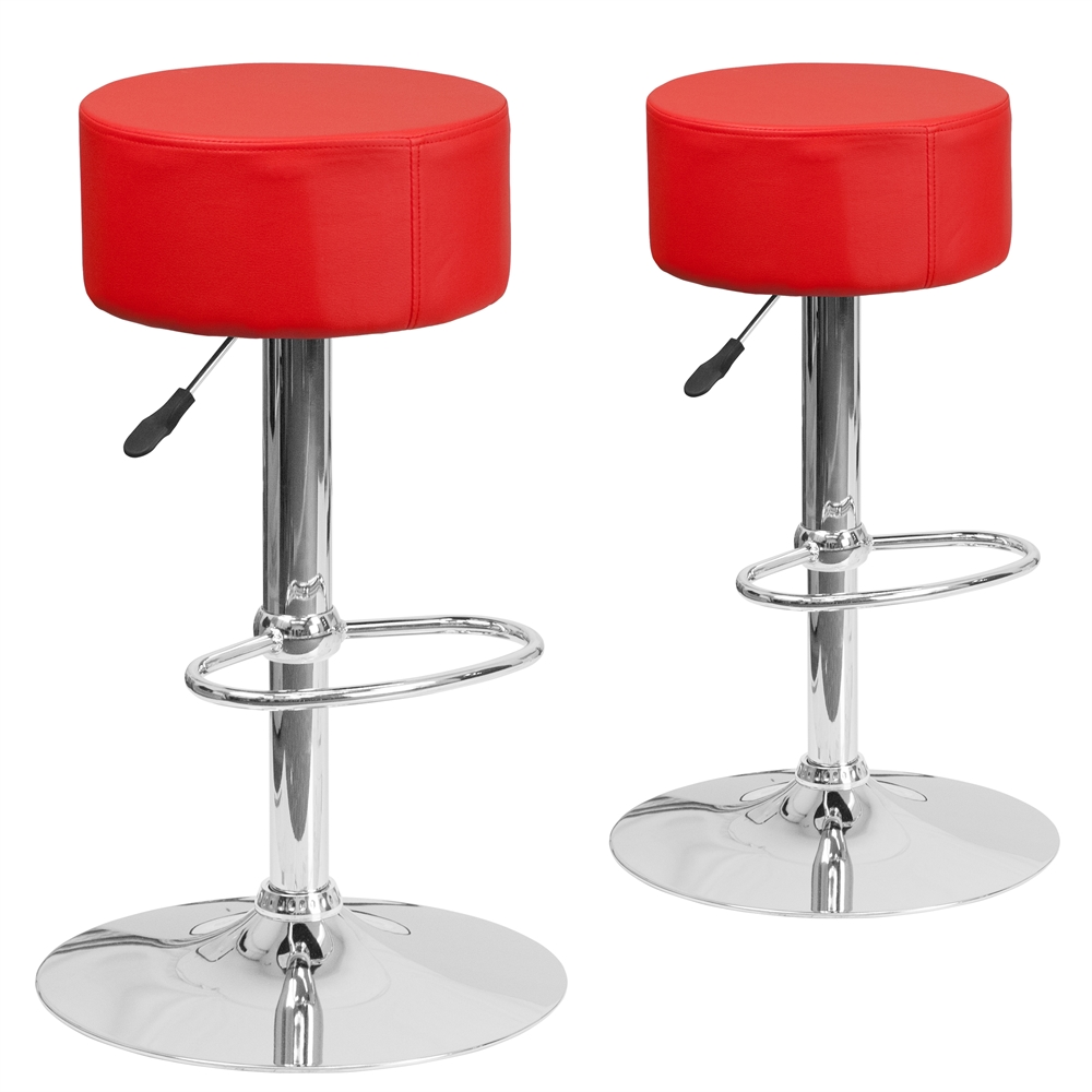 2 Pk Contemporary Red Vinyl Adjustable Height Barstool