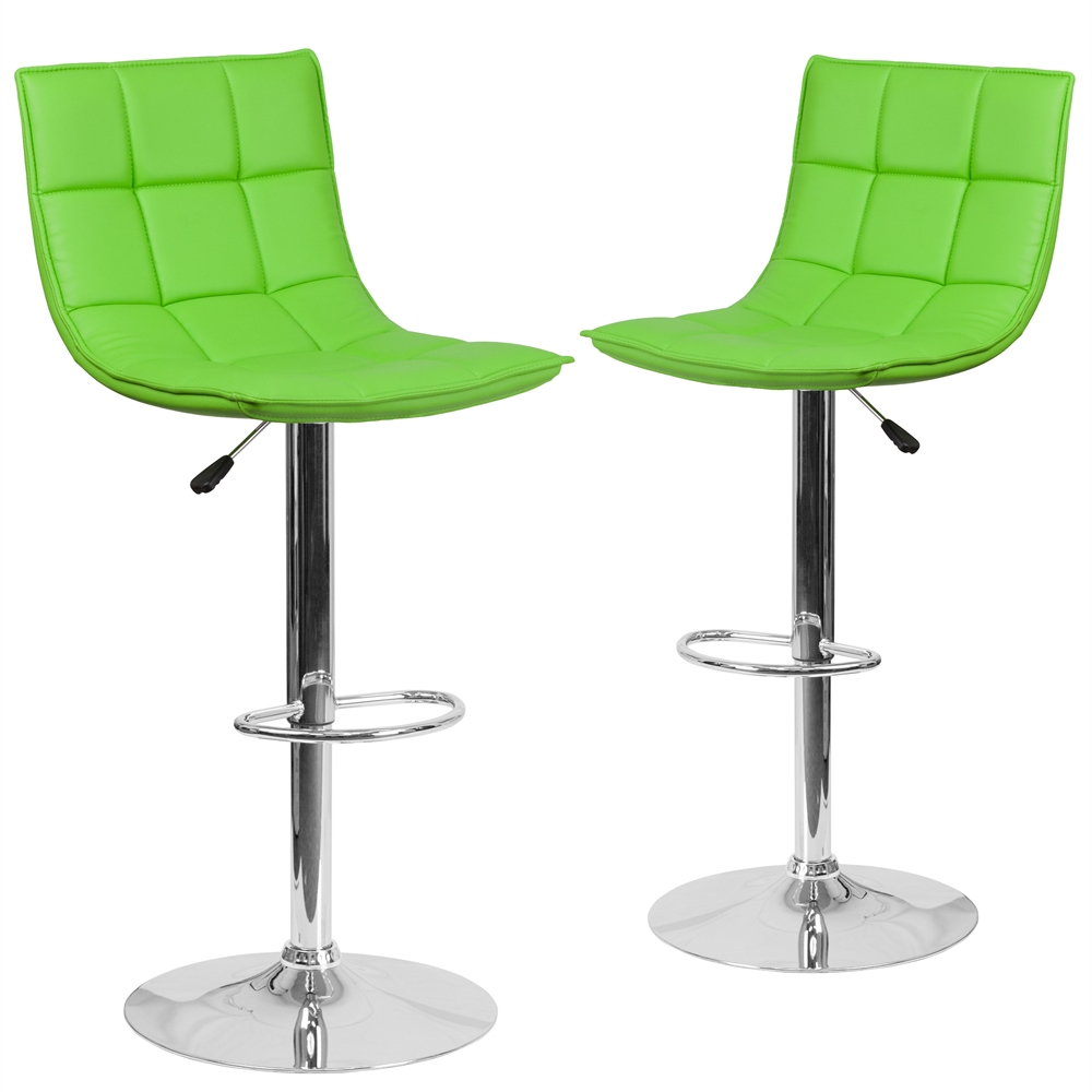 2 Pk Contemporary Green Quilted Vinyl Adjustable Height