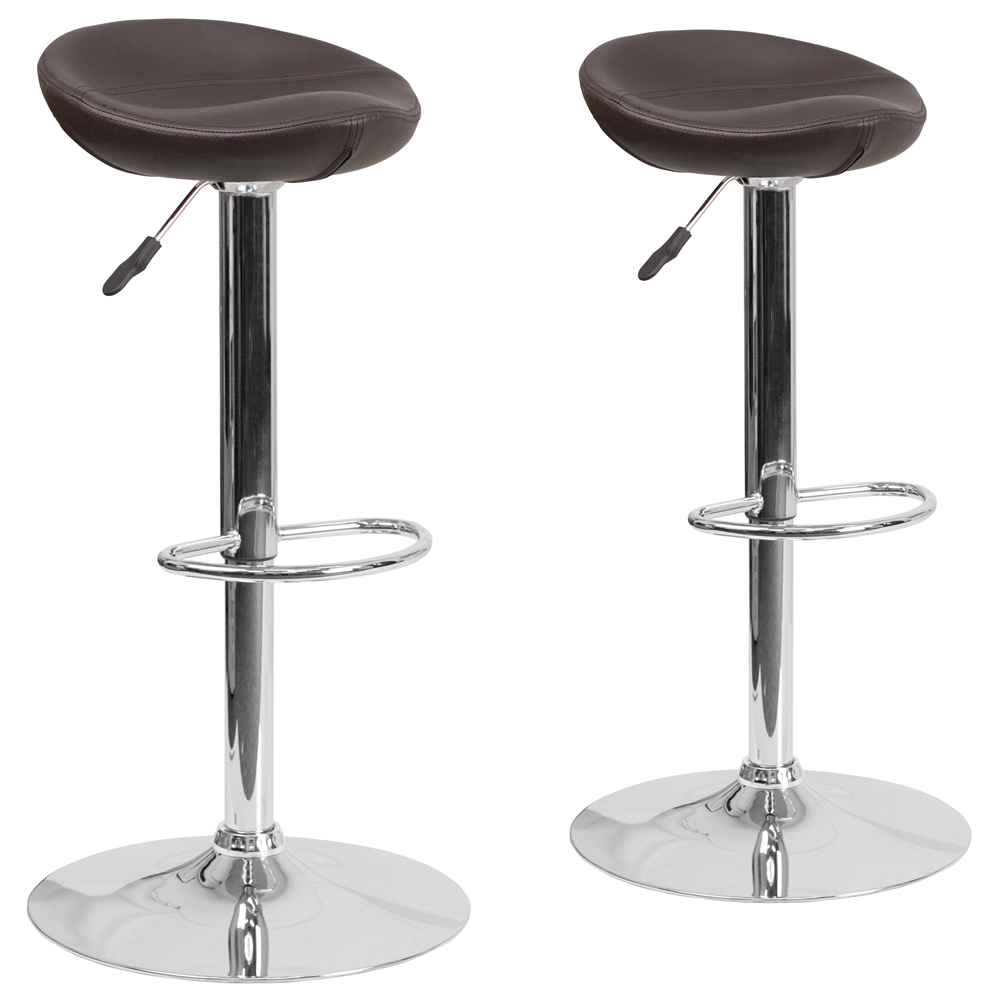 2 Pk Contemporary Brown Vinyl Adjustable Height Barstool