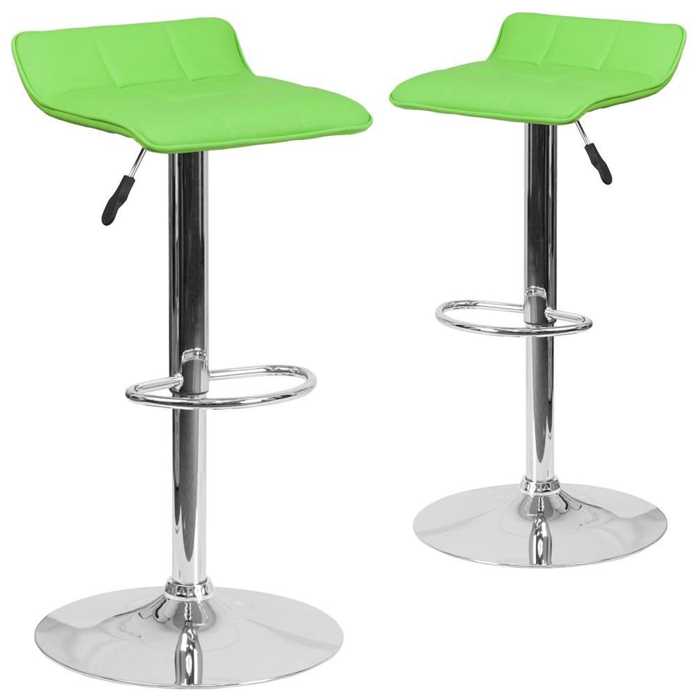 2 Pk Contemporary Green Vinyl Adjustable Height Barstool
