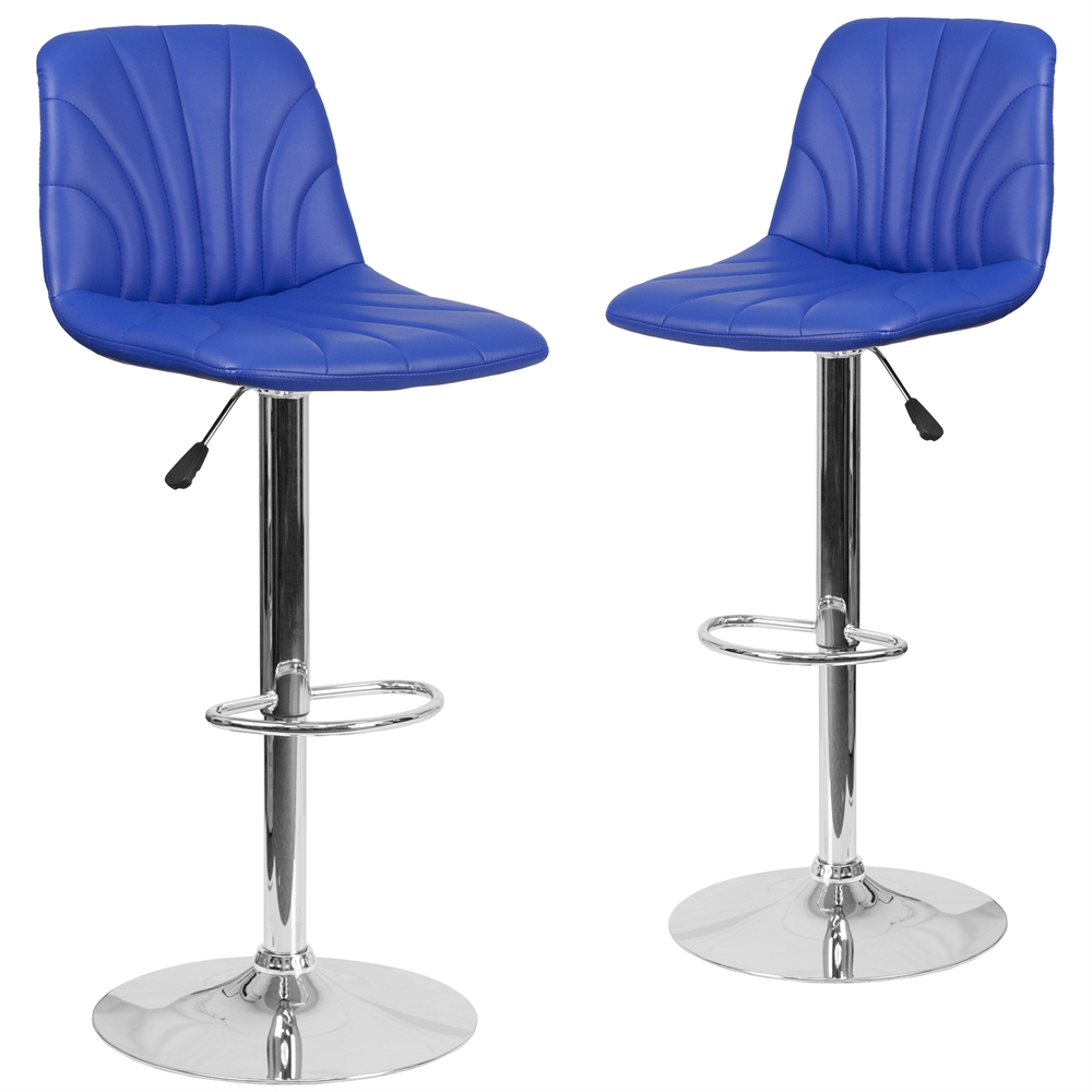 2 Pk. Contemporary Blue Vinyl Adjustable Height Barstool with Chrome Base. Picture 1