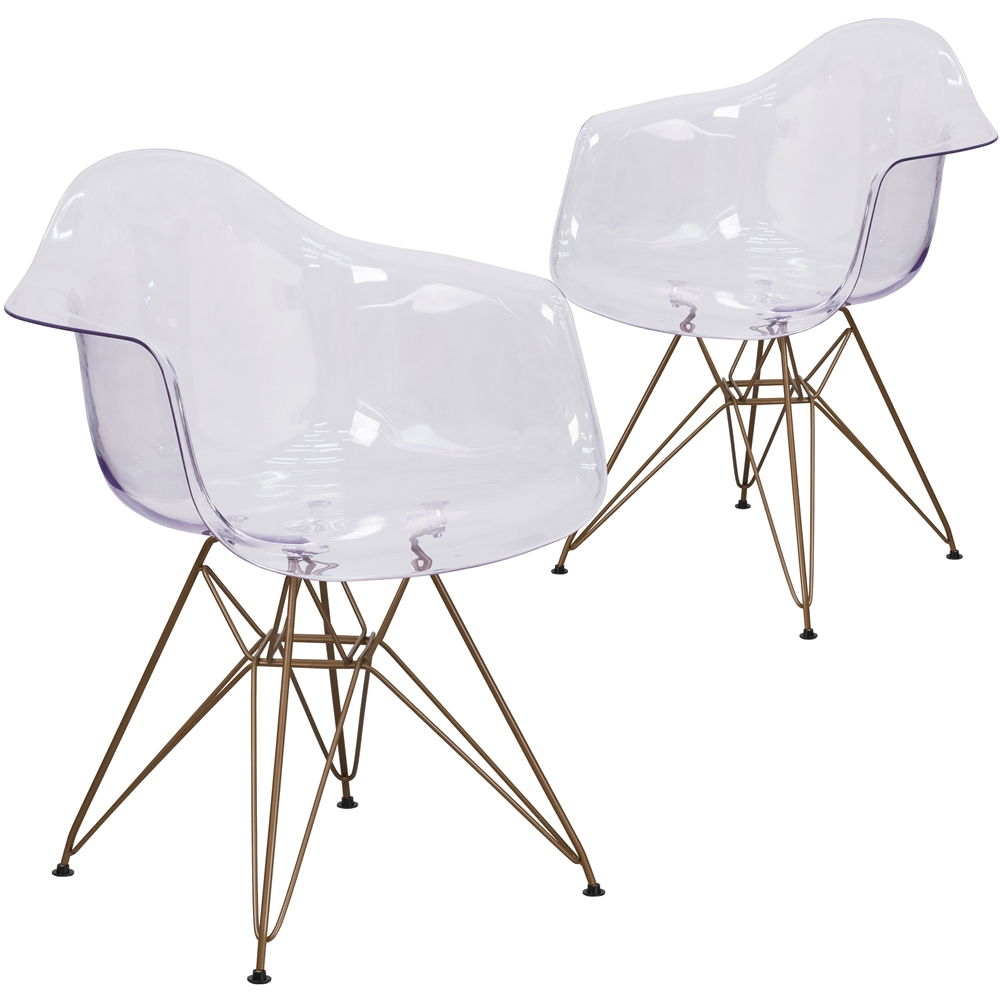 2 Pk Allure Series Transparent Side Chair With Gold Frame