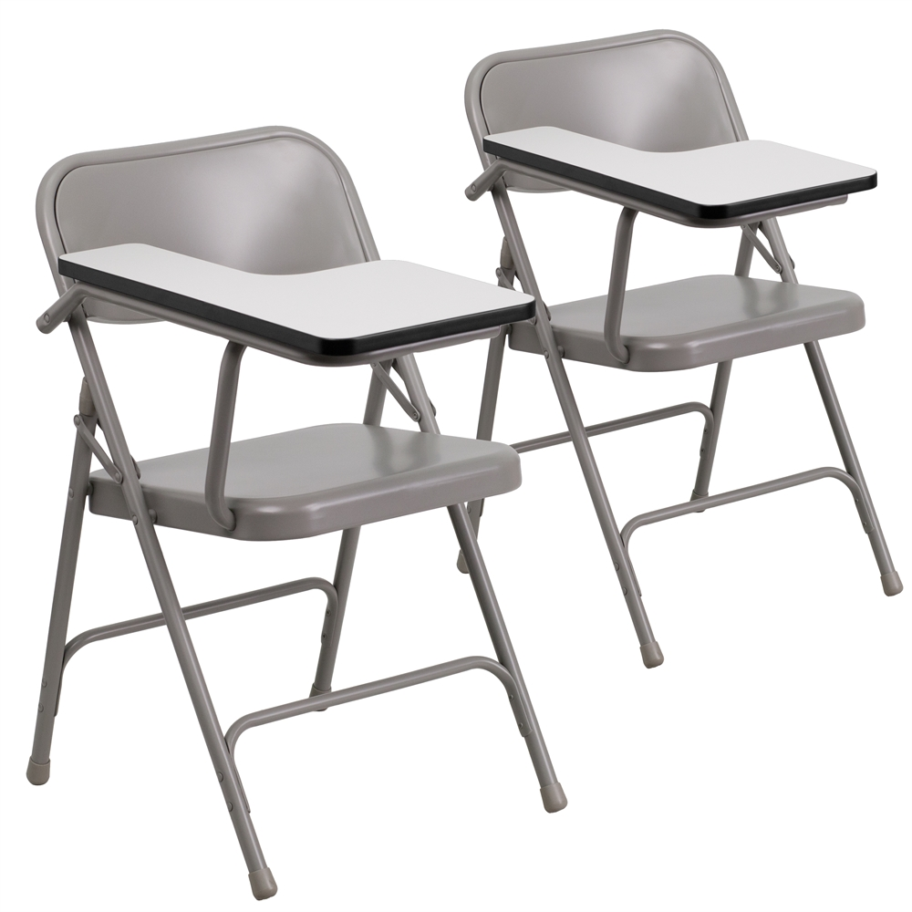 2 Pk. Premium Steel Folding Chair with Right Handed Tablet Arm. Picture 1