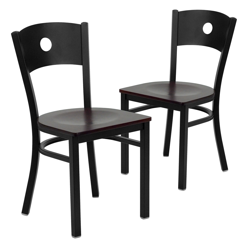 2 Pk. HERCULES Series Black Circle Back Metal Restaurant Chair   Mahogany  Wood Seat