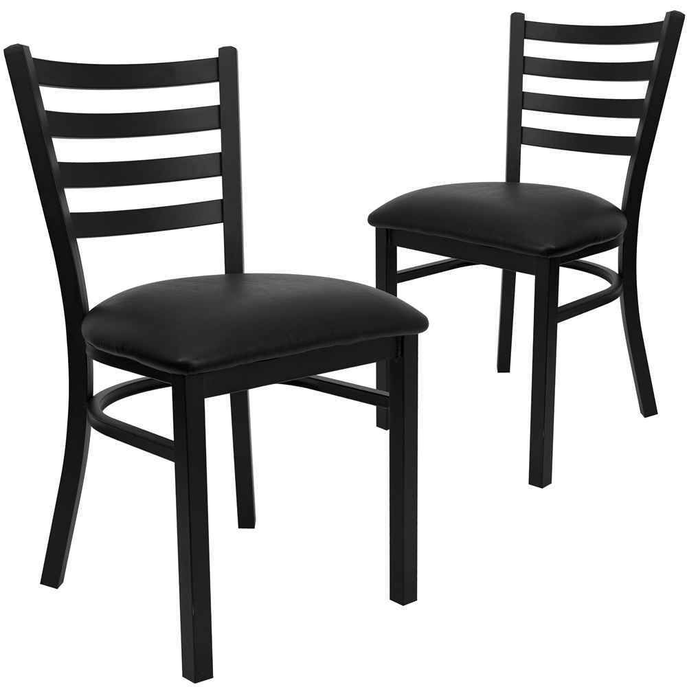 2 Pk. HERCULES Series Black Ladder Back Metal Restaurant Chair - Black Vinyl Seat. Picture 1
