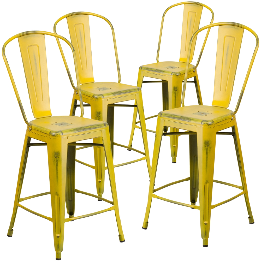4 Pk. 24'' High Distressed Yellow Metal Indoor Counter Height Stool with Back. Picture 1