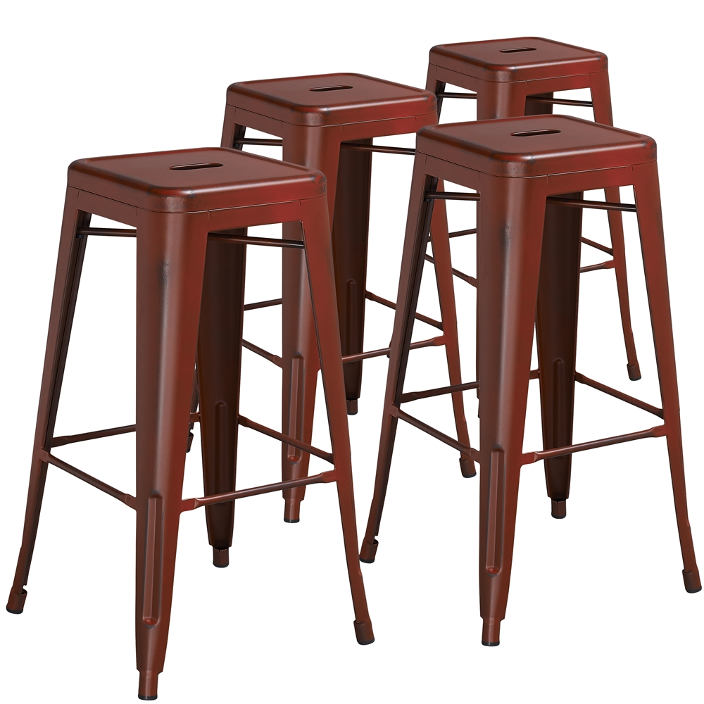 4 Pk 30 High Backless Distressed Kelly Red Metal Indoor
