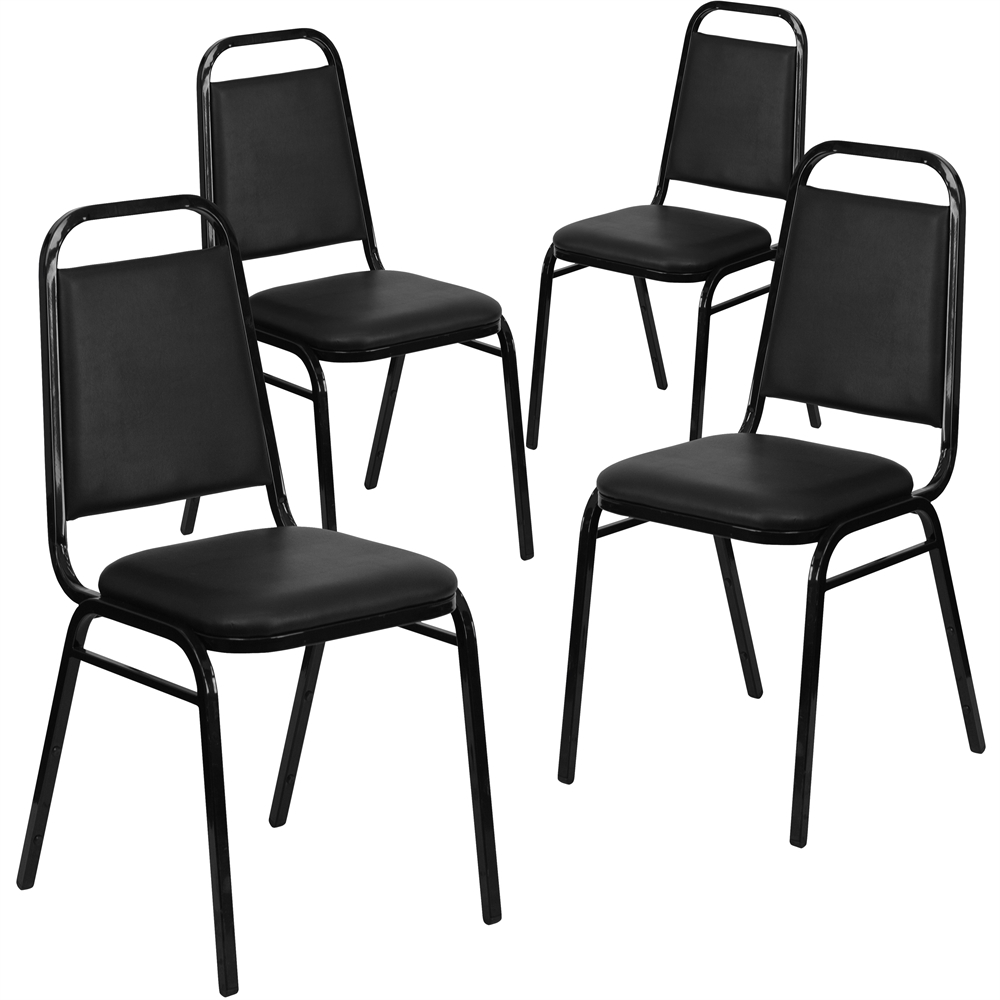 4 Pk. HERCULES Series Trapezoidal Back Stacking Banquet Chair with Black Vinyl and 1.5'' Thick Seat - Black Frame. Picture 1