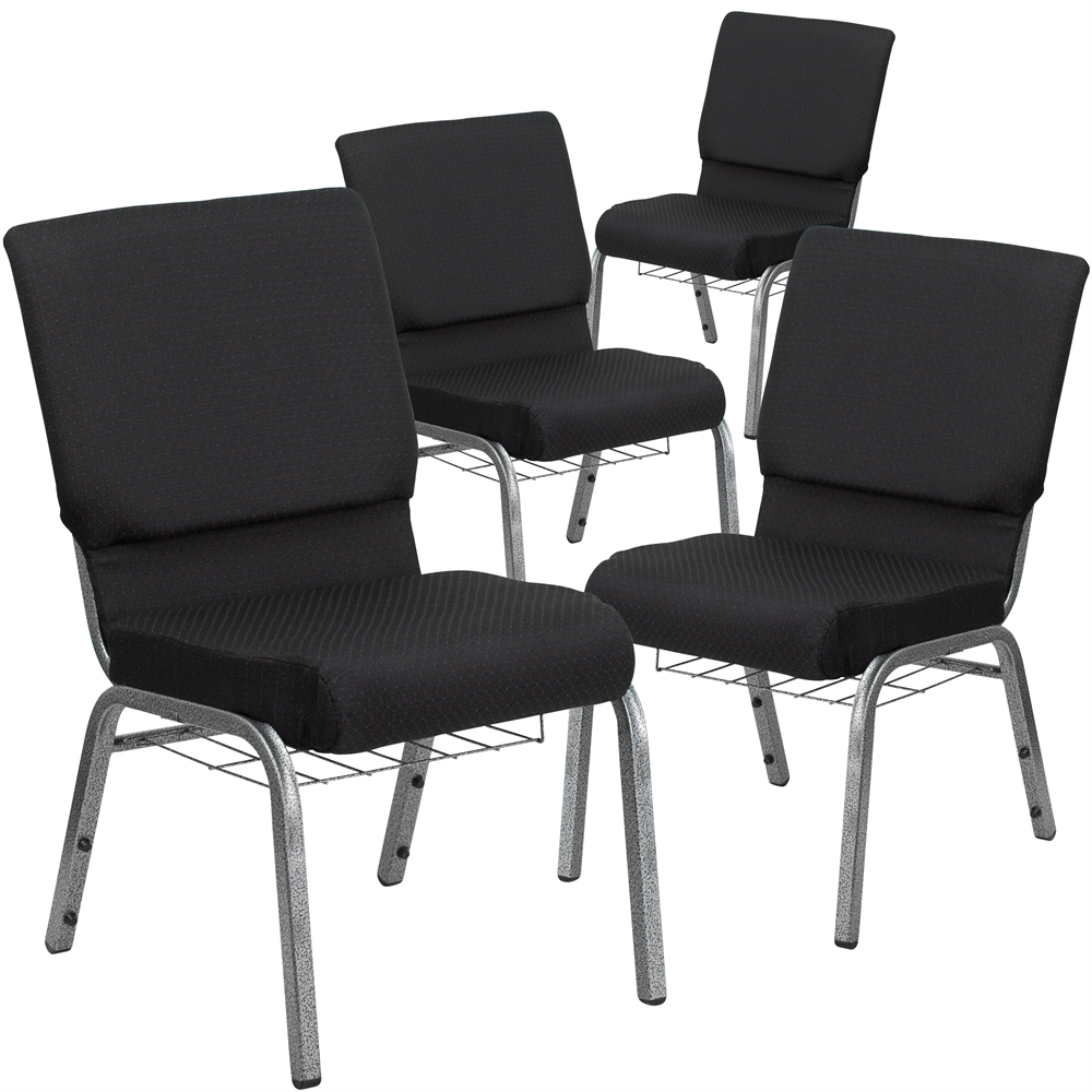 HERCULES Series Big /& Tall 1000 lb Flash Furniture 4 Pk Rated Black Fabric Stack Chair