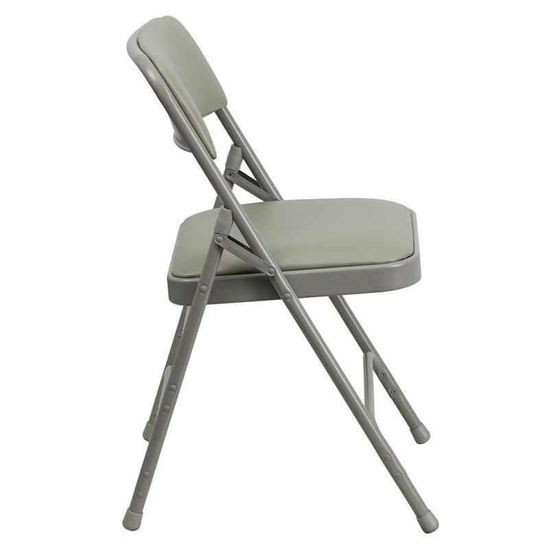 4 Pk. HERCULES Series Curved Triple Braced & Double Hinged Gray Vinyl Metal Folding Chair