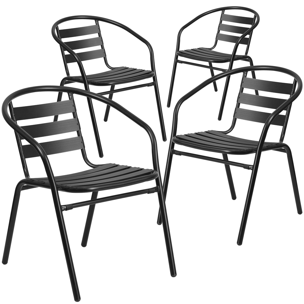 4 Pk. Black Metal Restaurant Stack Chair with Aluminum Slats. Picture 1