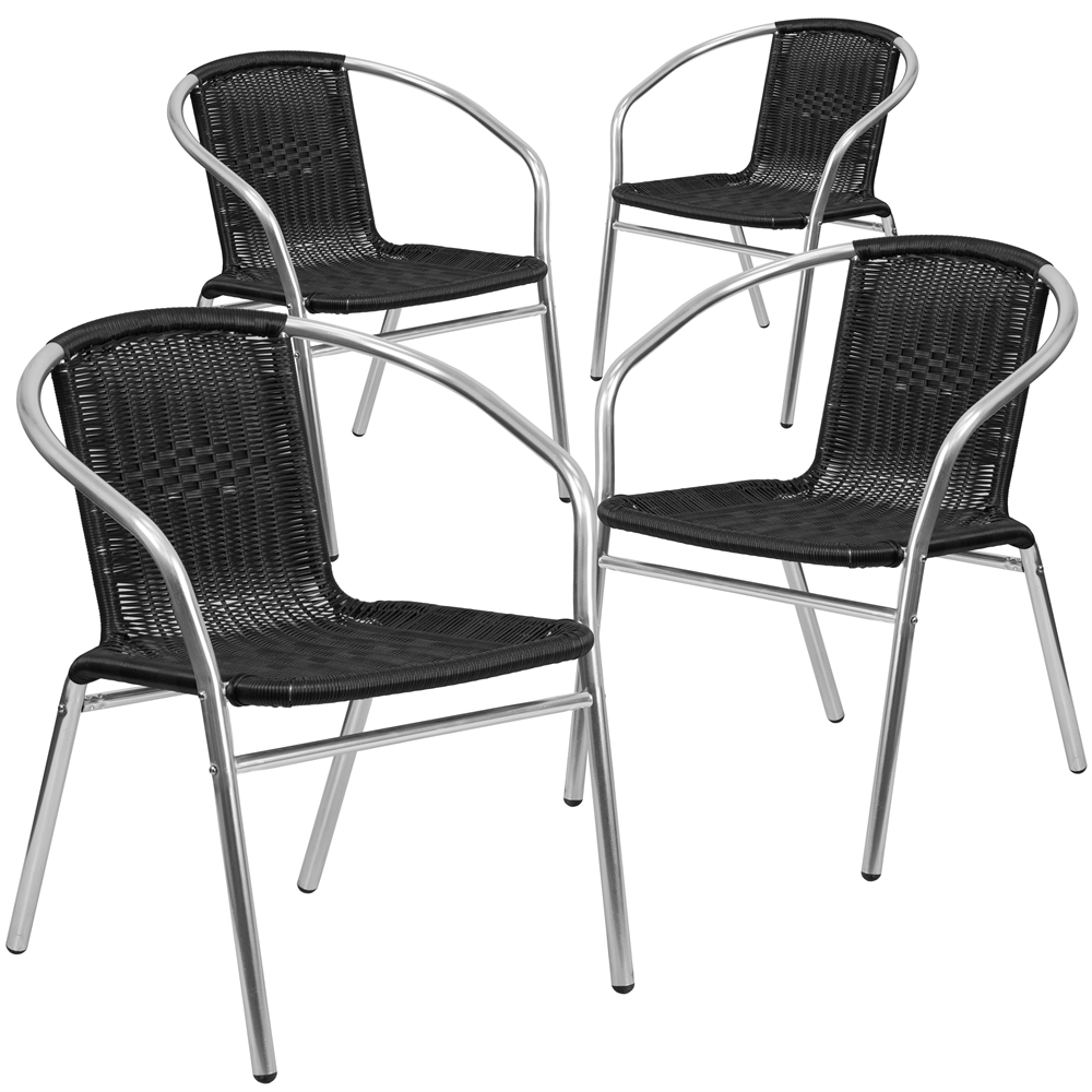 4 Pk Aluminum And Black Rattan Commercial Indoor Outdoor