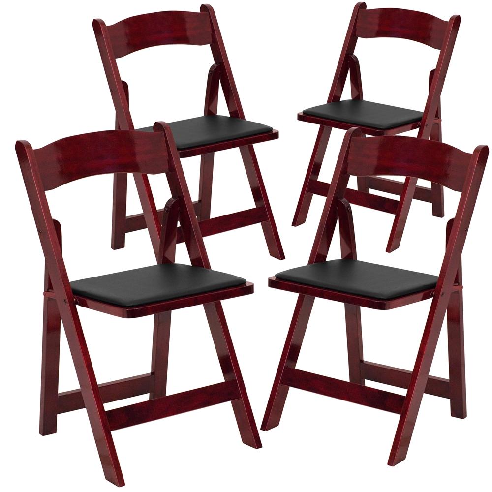 4 Pk Hercules Series Mahogany Wood Folding Chair With