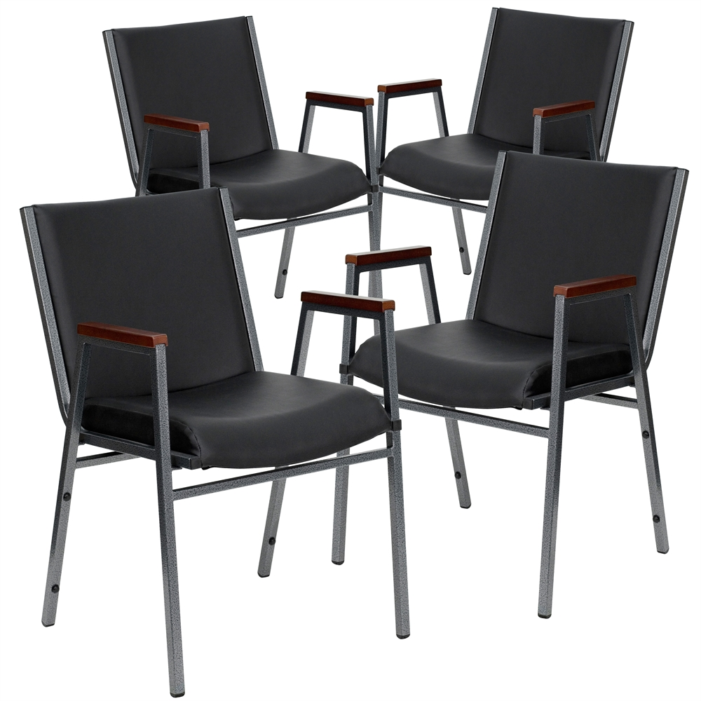 4 Pk. HERCULES Series Heavy Duty, 3'' Thickly Padded, Black Vinyl Upholstered Stack Chair with Arms