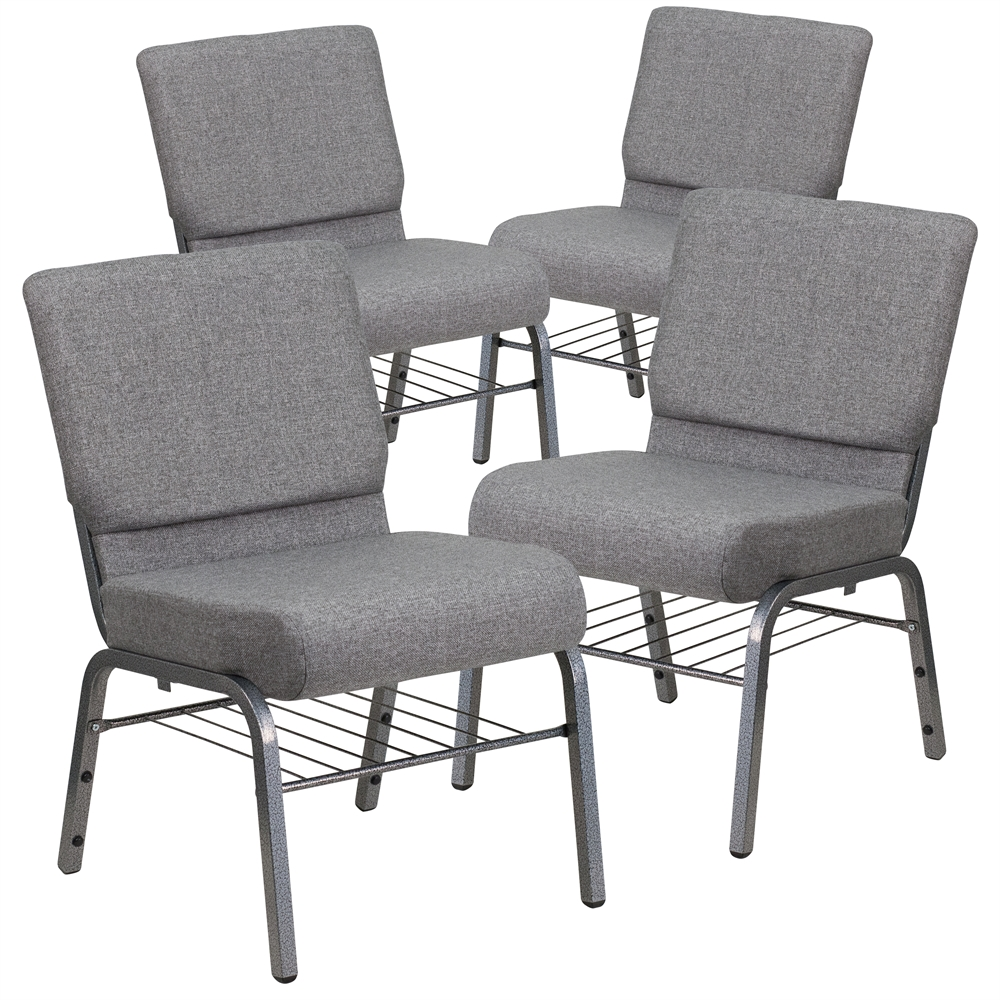 4 Pk. HERCULES Series 21'' Extra Wide Gray Fabric Church Chair with 3.75'' Thick Seat, Book Rack - Silver Vein Frame. Picture 1