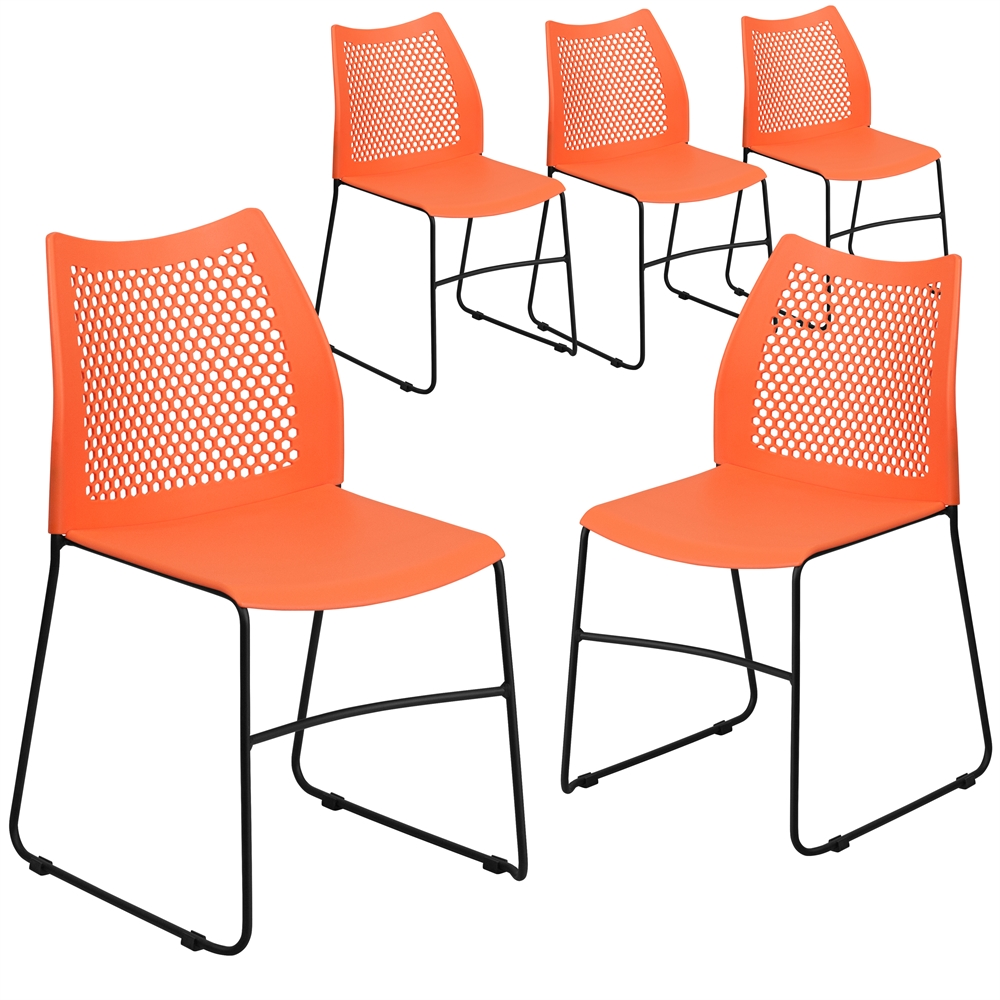 5 Pk. HERCULES Series 661 lb. Capacity Orange Sled Base Stack Chair with Air-Vent Back. Picture 1