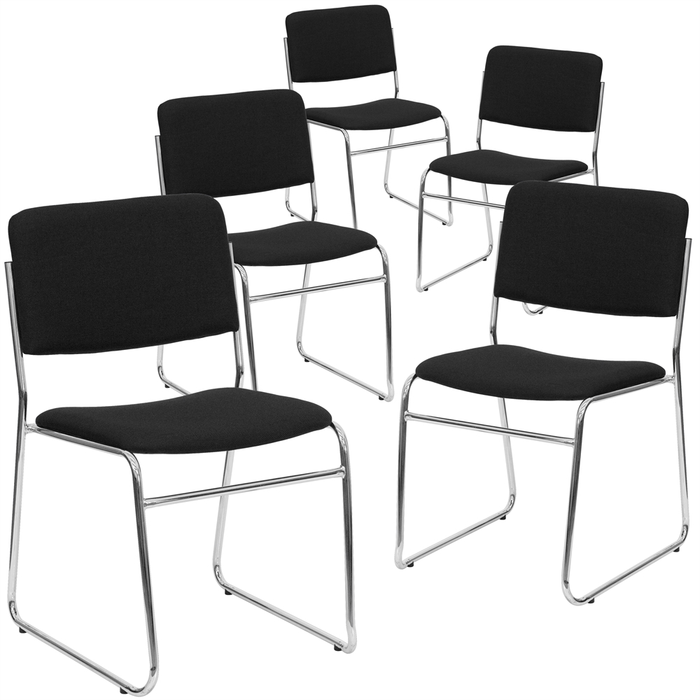 5 Pk. HERCULES Series 1000 Lb. Capacity Black Fabric High Density Stacking  Chair With Chrome Sled Base