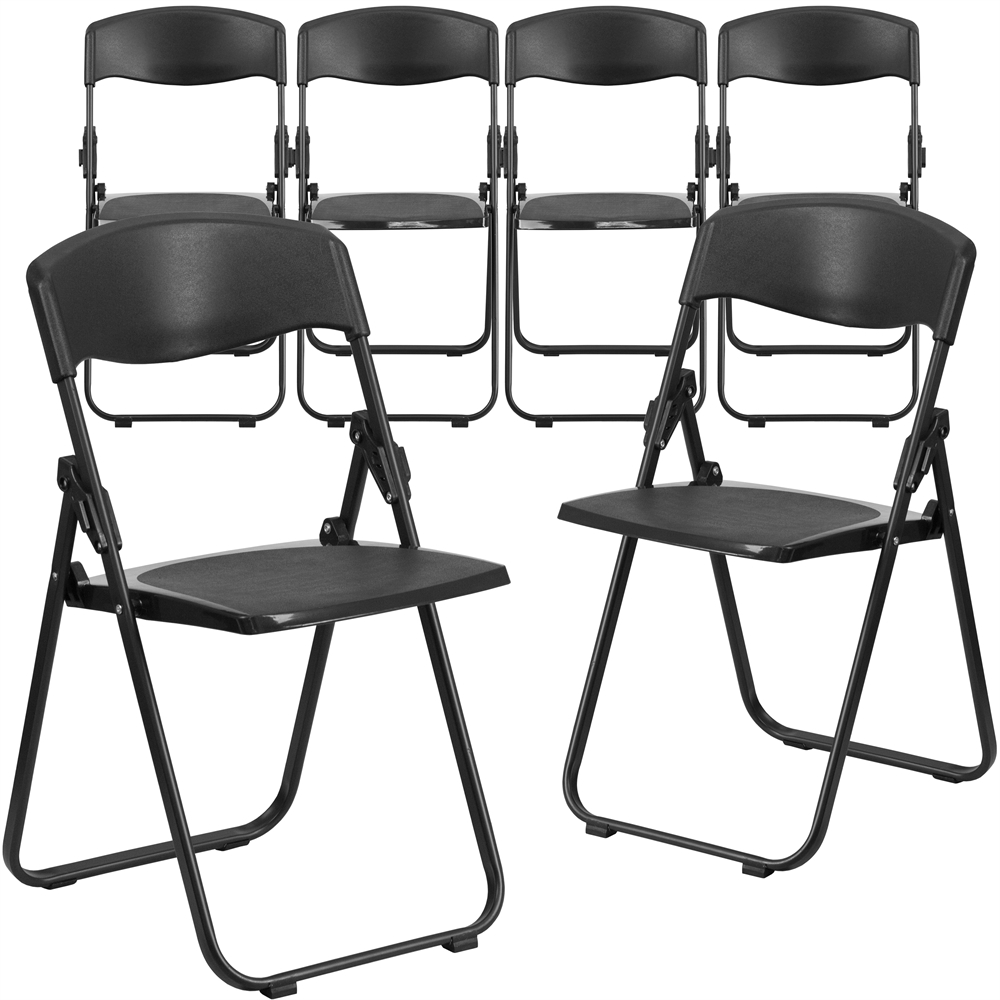 Ordinaire Capacity Heavy Duty Black Plastic Folding Chair With Built In Ganging  Brackets