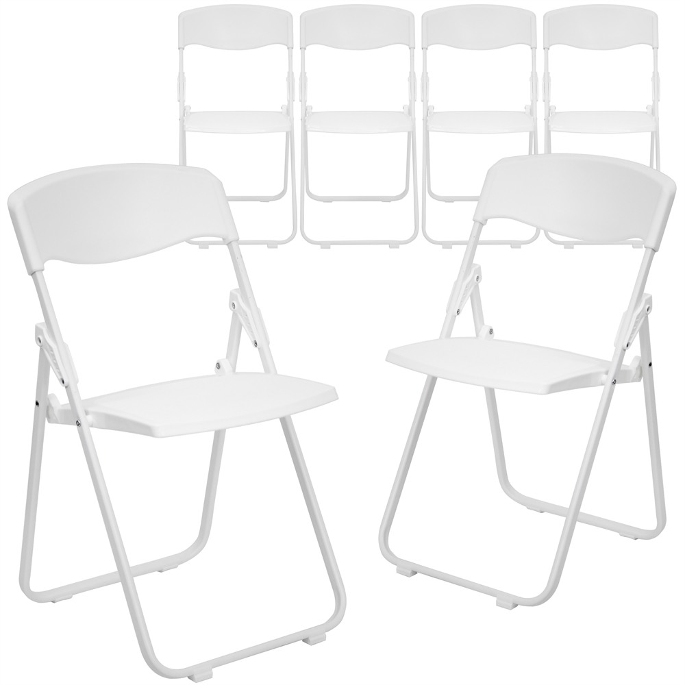 Superbe Capacity Heavy Duty White Plastic Folding Chair With Built In Ganging  Brackets