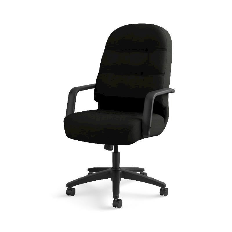 HON Pillow-Soft Executive High-Back Chair | Center-Tilt, Tension, Lock | Fixed Arms | Black Leather. Picture 13