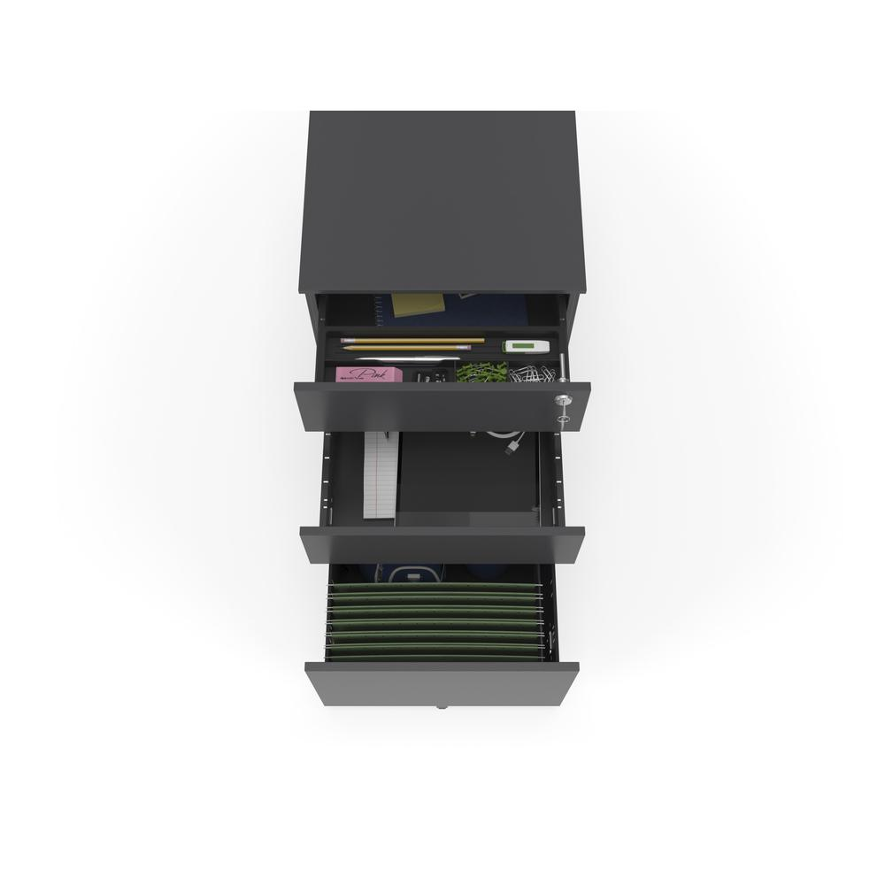 Commercial-Grade Mobile Metal Pedestal, Filing Cabinet, Charcoal. Picture 7