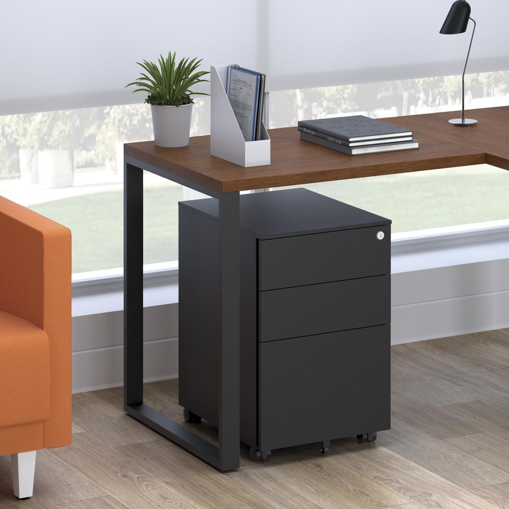 Commercial-Grade Mobile Metal Pedestal, Filing Cabinet, Charcoal. Picture 12