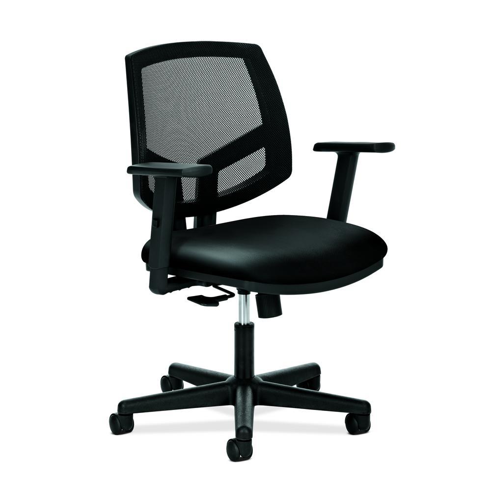 HON Volt Mesh Back Task Chair | Synchro-Tilt, Tension, Lock | Adjustable Arms | Black SofThread Leather. Picture 1