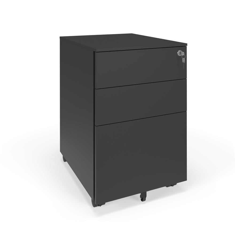Commercial-Grade Mobile Metal Pedestal, Filing Cabinet, Charcoal. Picture 1