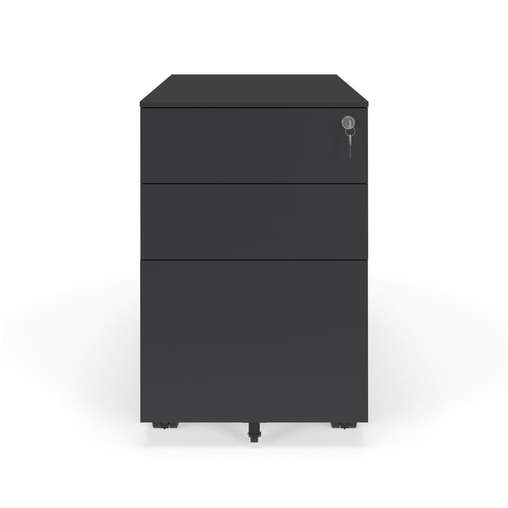 Commercial-Grade Mobile Metal Pedestal, Filing Cabinet, Charcoal. Picture 2