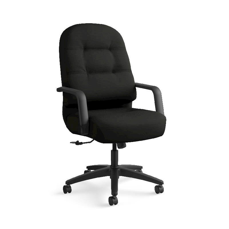 HON Pillow-Soft Executive High-Back Chair | Center-Tilt, Tension, Lock | Fixed Arms | Black Leather. Picture 1